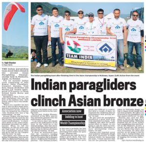 Indian Paragliding Team wins bronze at  2nd FAI Asian Paragliding Championship at Nishiawa, Japan